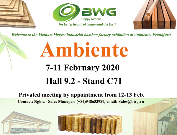BWG at Ambiente, Frankfurt from 7 to 11 February 2020