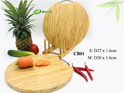 Round Bamboo Cutting Board with handle - Vietnam