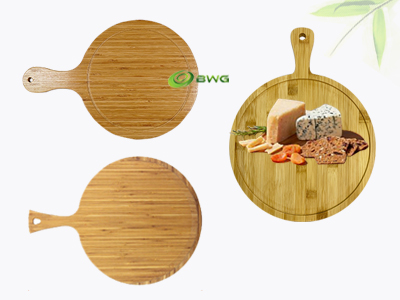 Round Bamboo Serving Board with Handle Vietnam